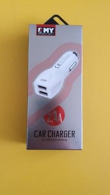 Зарядно устройство EMY 12-24V-2.4A в комплект с 1м делим кабел USBкъм Micro USB(2USBизхода