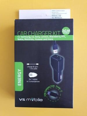 Зарядно устройство Vs mobile 12-242×USB 4.8A с делим кабел USB към USB micro-B(CC24AUWMU