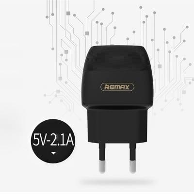 Мрежово зарядно устройство Remax Flinc / 220-240V / 2.1A / Универсално / 2 x USB / Черен